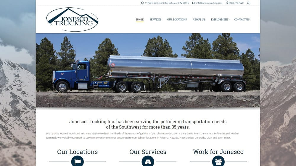 Jonesco Trucking - Bellemont, AZ: WordPress CMS / Website Design / SEO