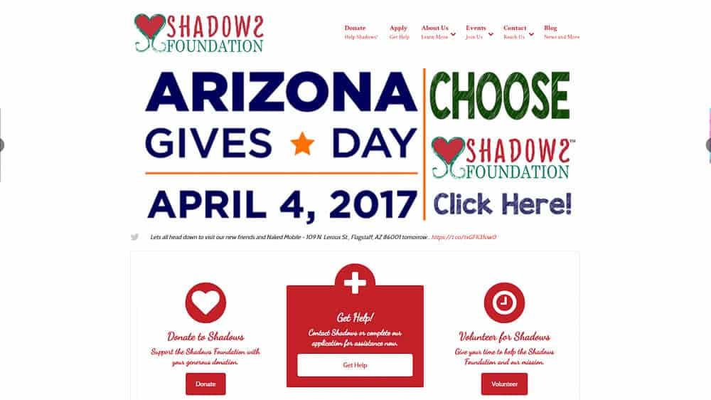 Shadows Foundation - Flagstaff, AZ: WordPress CMS / Website Design / Digital Retailing / SEO / PPC / Social Media / Email Marketing / Lead Conversion Optimization / Event Marketing
