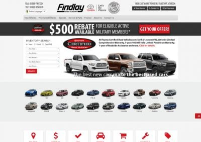 Findlay Toyota Flagstaff - Flagstaff, AZ: Website Design / Inventory Management / Digital Retailing / Business Development / SEO / PPC / Social Media / Email Marketing / Lead Conversion Optimization