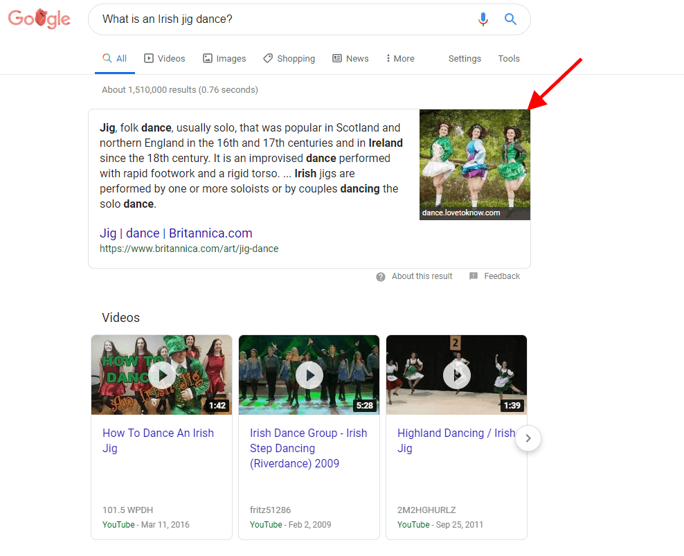 Example of a Featured Snippet in Google SERPs