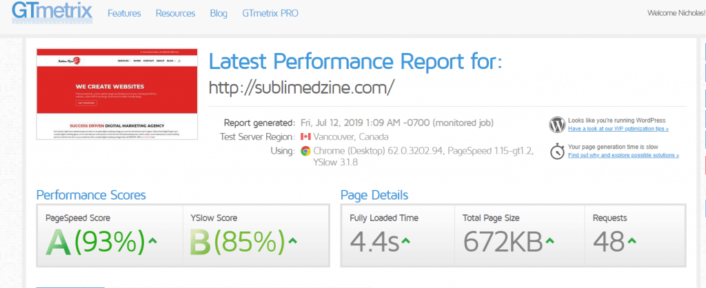 SEO Performance Report from GTMetrix.com